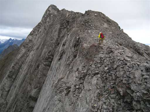 Me traversing the final summit ridge. Photo by Grant