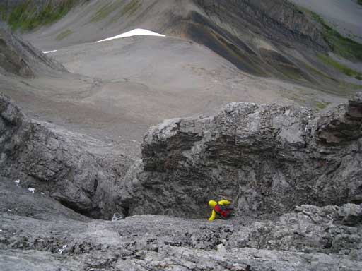 Me descending the wrong gully. Thankfully it eventually worked