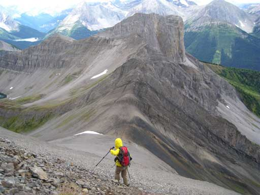 """Back to easy terrain now. """"Smutwood Peak"""" in front"""