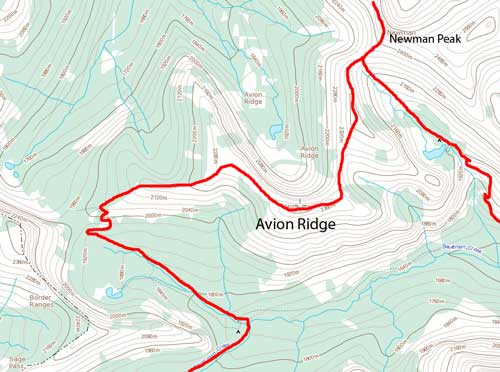Avion Ridge hiking route traversing from Newman Peak