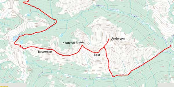 Mt. Bauerman to Anderson Peak traverse route