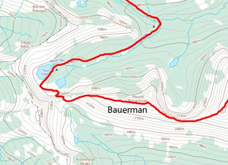 Mt. Bauerman ascent route from Bauerman Divide