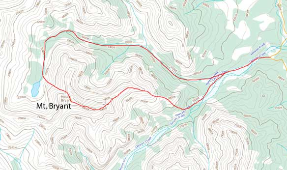 Mt. Bryant scramble route via NW slopes and then down E. Ridge