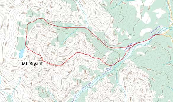 Mt. Bryant scramble route via NW slopes and then down E. Ridge