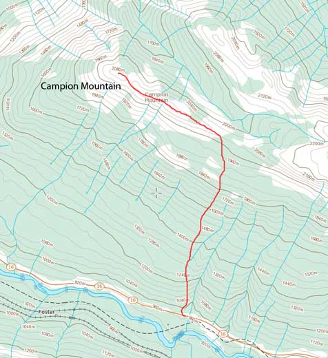 Campion Mountain ascent route