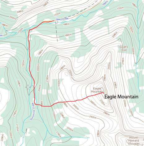 Eagle Mountain ski/snowshoe ascent route