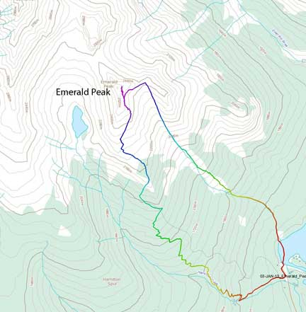 Emerald Peak snowshoe/ski ascent route