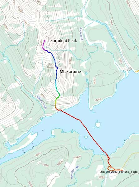 Mt. Fortune to Fortulent Peak snowshoe ascent route
