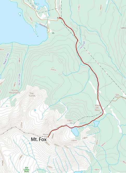 Mt. Fox scramble route from Frozen Lake