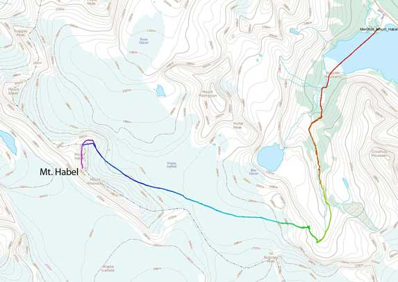 Mt. Habel standard ski/snowshoe ascent route