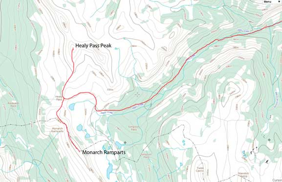 Ascent routes for Healy Pass Peak and Monarch Ramparts
