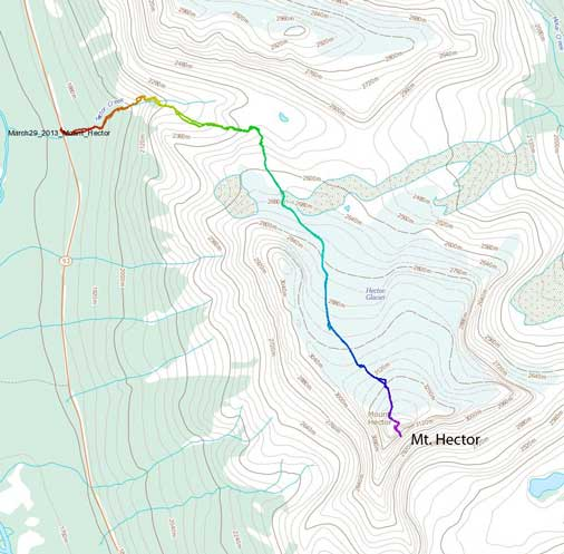 Mt. Hector standard ascent route