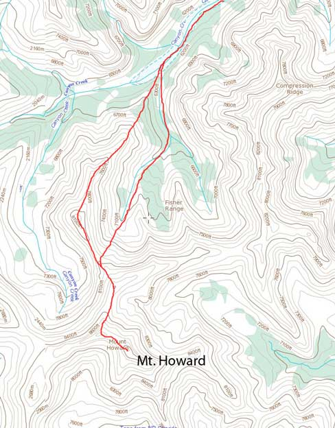 Mt. Howard scramble route via the long undulating N. Ridge