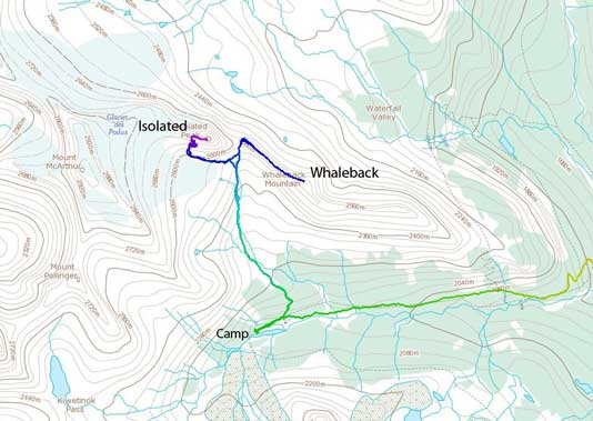 Isolated Peak and Whaleback Mountain standard scramble route from Little Yoho