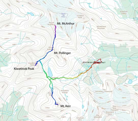 Ascent routes for Kiwetinok, Pollinger, McArthur and Kerr