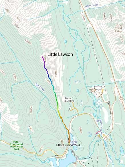 Little Lawson snowshoeing ascent route