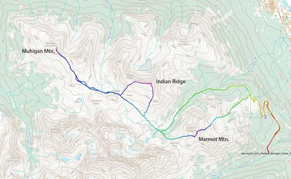 Marmot Mountain, Muhigan Mountain and Indian Ridge winter ascent route