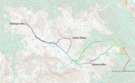 Marmot Mountain, Muhigan Mountain and Indian Ridge winter ascent route
