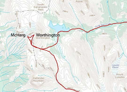 Mt. McHarg and Mt. Worthington scramble route
