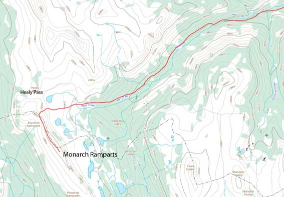 Monarch Ramparts ski ascent route