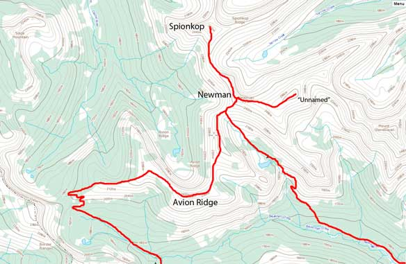 Newman - Spionkop - Avion traverse route