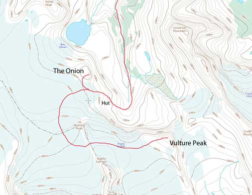 The Onion and Vulture Peak ski ascent route from Bow Hut