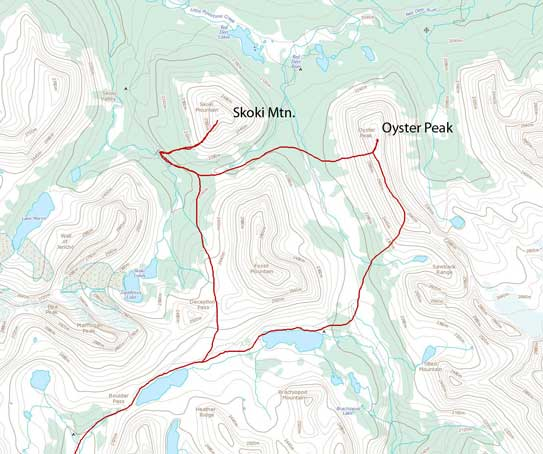 Oyster Peak and Skoki Mountain standard scramble route
