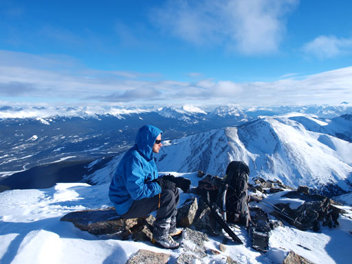 Taking a break on the summit