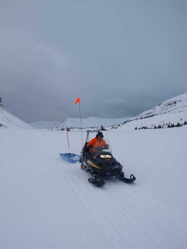 A snowmobile passed us