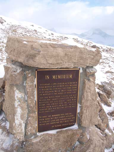 A memorial plaque on the summit. Two guys died on Fossil Mountain in an avalanche.