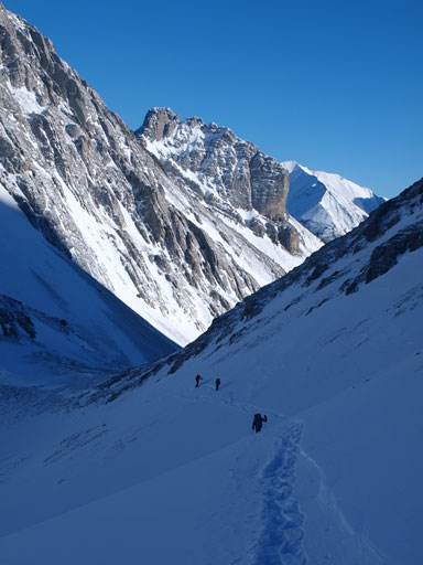 Traversing steep terrain. This part was awful on snowshoes since the snow was either too shallow or too hard