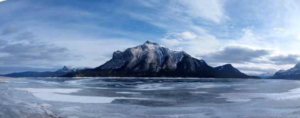 Panorama of Abraham Lake and Mount Michener before heading back home