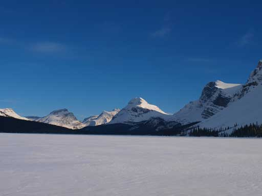 The Bow Lake crossing, looking towards Bow Peak