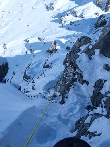 Looking back down the crux...
