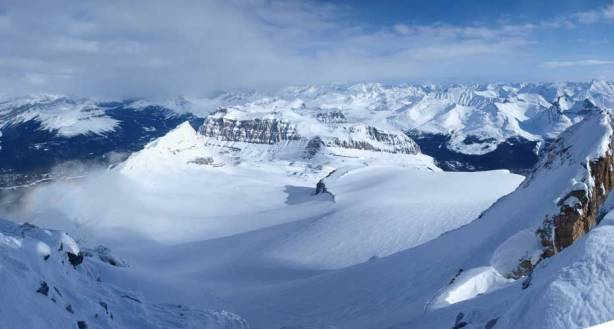 A panorama of the Hector Glacier, the way up.