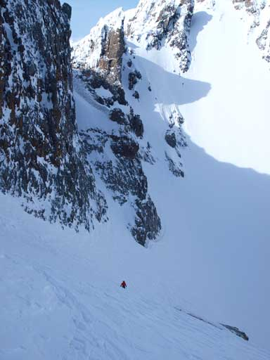 Mike ascending the steep slope.