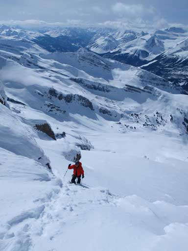 Mike approaching the false summit, with big terrain behind