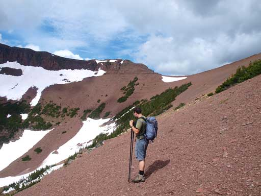 Eric at treeline. We would never see such a massive field of red rocks in the central Rockies