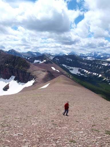 Eric slogging up Spionkop Ridge