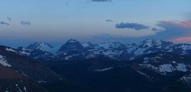 Giants in Glacier National Park including Kintla Peak (left of center) and Long Knife Peak (R)