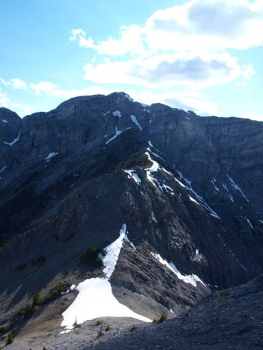 The West summit seen from the East peak.