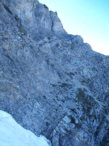 Steep terrain to the true (west) summit