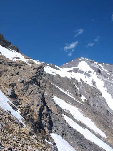 Looking back to Mount Aylmer. Note I took a different route on the way down. This bypasses the crux