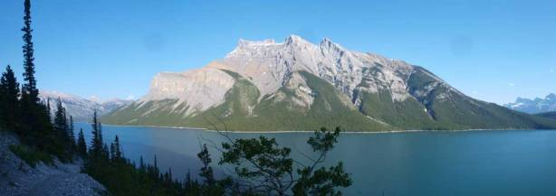 A panorama view of the Lake and Mt. Inglismaldie from a hill on the Trail.