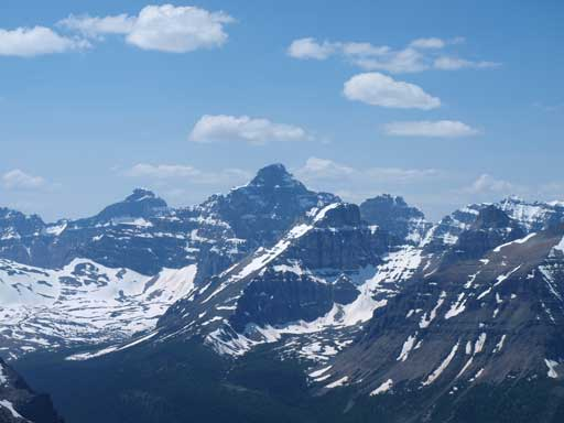 Hungabee Mountain rises behind Eiffel Peak