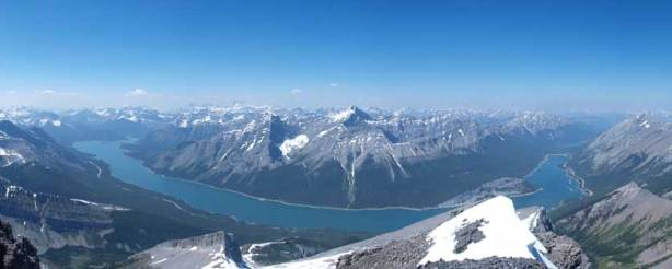 A panorama of Spray Lake from the summit. Nestor and Old Goat look much smaller now.