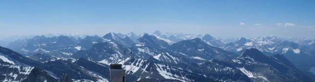 Panorama of Kananaskis Range. The high peak in the background is Mt. Sir Douglas