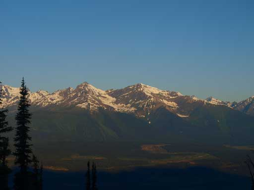 The left peak is higher but unnamed, while the right one is Mica Mountain.