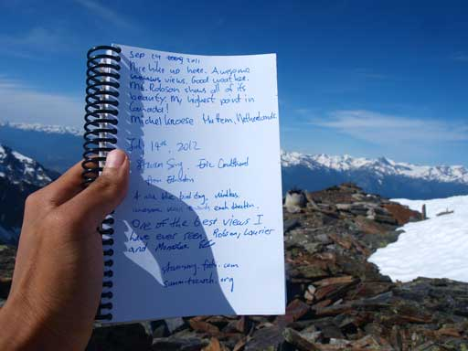 Summit Register and our entry.