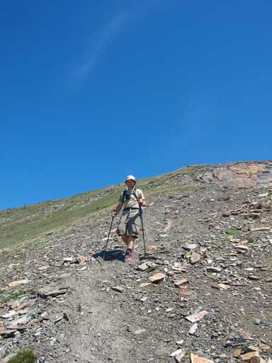 Eric descending the big hill. This part is probably a bit loose for hikers